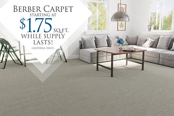 Berber Carpet starting at $1.75 sq.ft. at Carpet Showcase